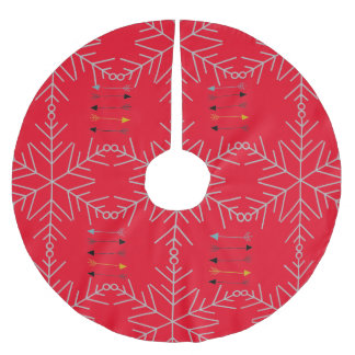 Custom Tree Skirt Red with Arrows and Snowflakes