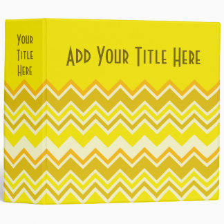 Custom Trendy Chevron Cobalt Yellow Zigzag Pattern Vinyl Binder