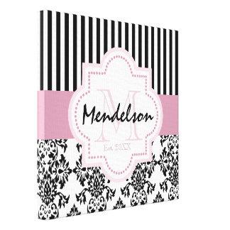Custom trendy monogram canvas print