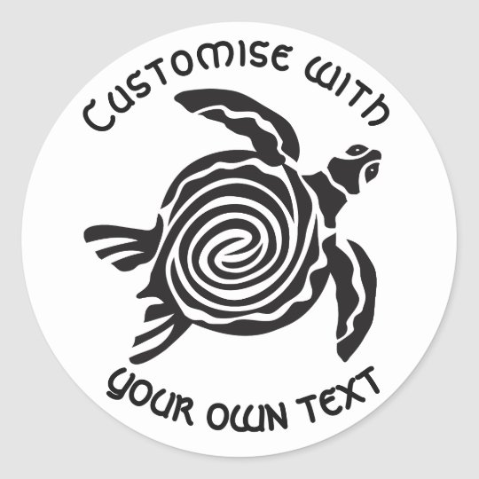 Custom Tribal Turtle Design Classic Round Sticker