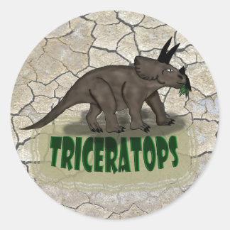 Custom Triceratops dinosaur Round Sticker