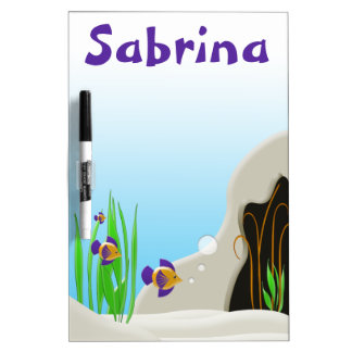 Custom Tropical Fish Cute Kids Name Dry Erase Dry Erase Board