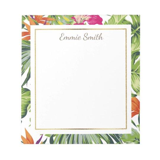 Custom Tropical Green Leaves Orange Pink Flowers Notepad