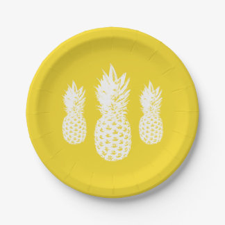 Custom tropical pineapple fruit paper party plates