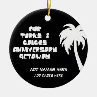 Custom Turks & Caicos Anniversary Ceramic Ornament