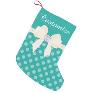 Custom Turquoise Dotted w/Cream Bow & Diamonds Small Christmas Stocking