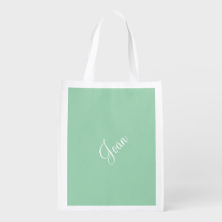 Custom Turquoise Green Upscale One Color Reusable Grocery Bag