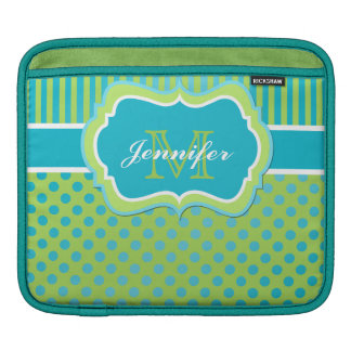 Custom Turquoise, Lime, White Striped Polka Dots Sleeve For iPads