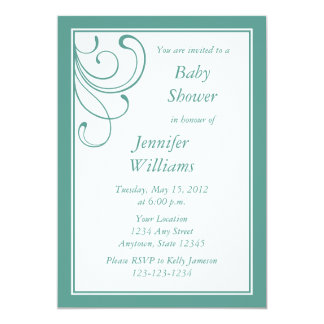 Custom Turquoise or Aqua Baby Shower Invitation