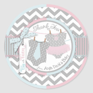 Custom Tutu & Tie Gender Unknown Baby Shower Classic Round Sticker