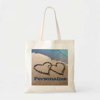 Custom Two Hearts In The Sand Tote Bag