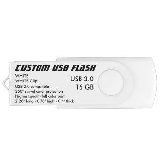 Custom USB 3.0 Flash 16GB - White Clip, WHITE Swivel USB 3.0 Flash Drive