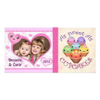 Custom Valentine Kawaii Cupcake Photo Card