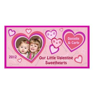 Custom Valentine Kawaii Hearts Photo Card