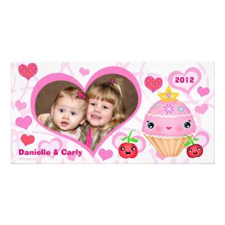 Custom Valentine Princess Cupcake Photo Card