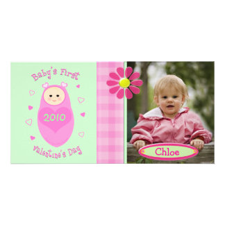 Custom Valentine's Day Baby  Girl Photocard Picture Card