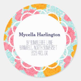 Custom Vibrant VIntage Floral Return Address Label Round Sticker