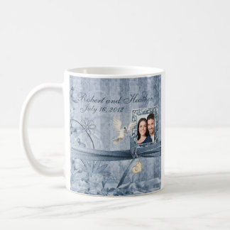 Custom Vintage Blue Floral Photo Wedding Mug