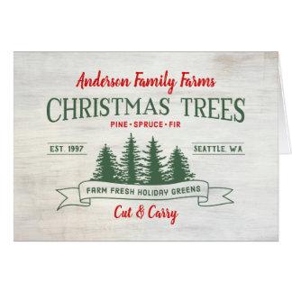 Custom Vintage Christmas Tree Farm Card