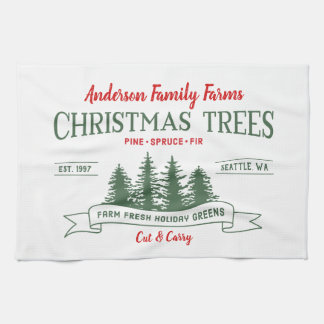 Custom Vintage Christmas Tree Farm Tea Towel
