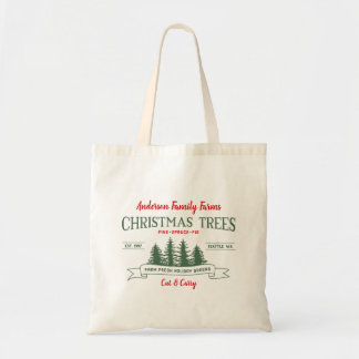 Custom Vintage Christmas Tree Farm Tote Bag