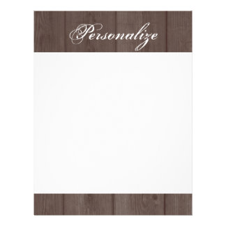 Custom vintage country chic wood grain letterhead