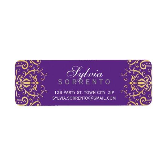 CUSTOM vintage elegant filigree damask purple gold