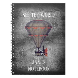 Custom Vintage Hot Air Balloon Steampunk Notebook