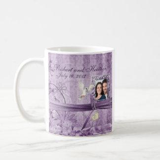 Custom Vintage Lavender Floral Photo Wedding Mug