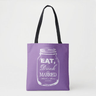 Custom vintage mason jar purple wedding tote bags