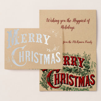 Custom Vintage Merry Christmas with Holly Leaves Foil Card