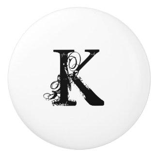 Custom vintage monogram white ceramic knobs