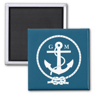 Custom Vintage Nautical Anchor and Line Magnet