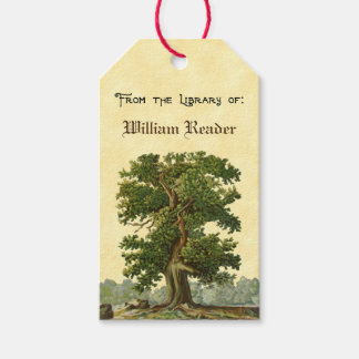 Custom Vintage Oak Tree Bookplate Tag