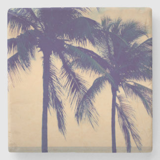 Custom vintage palm beach ocean photo print gift stone coaster