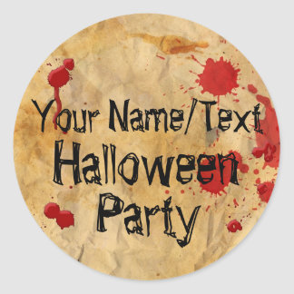 Custom Vintage Red Blood Splatter Halloween Party Classic Round Sticker