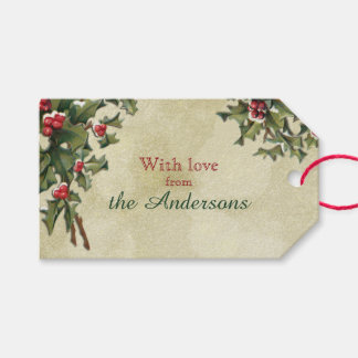 Custom Vintage Style Holly on Gold Background Pack Of Gift Tags