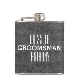 Custom Vintage Style Wedding Groomsman Flask