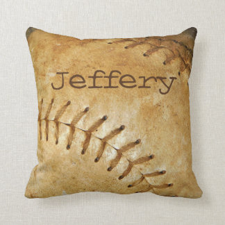 Custom vintage White Baseball white stitching Throw Pillow