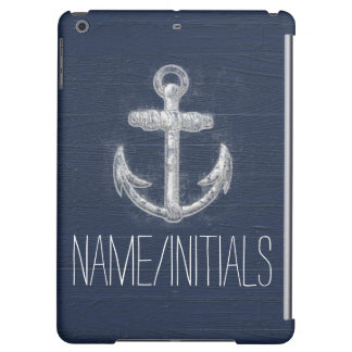 Custom Vintage White/Blue Nautical Anchor Symbol iPad Air Case
