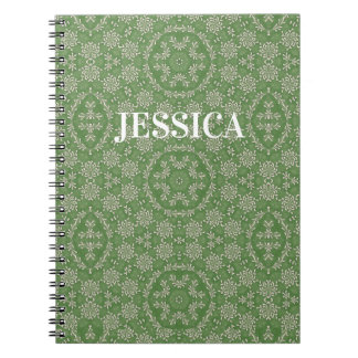 Custom Vintage White Floral Pattern Green Notebook