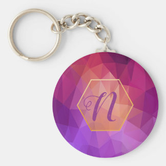 Custom violet and purple graphic pattern keychain