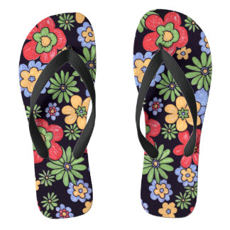 Custom Vivid Colorful Flowers Flip Flops