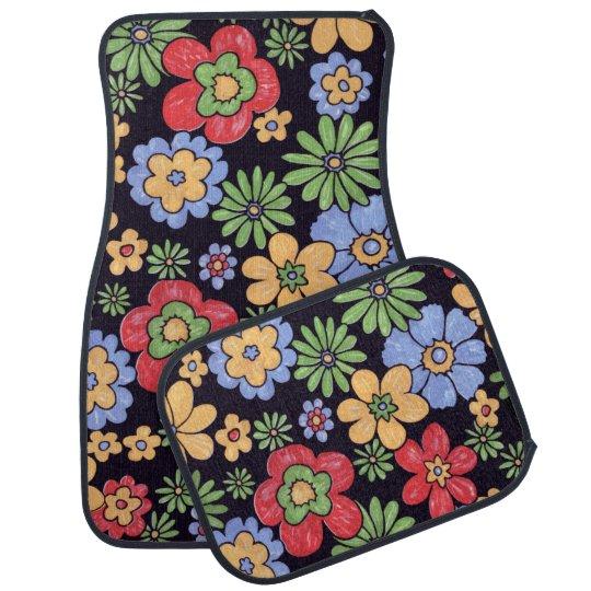 Custom Vivid Colourful Flowers Pattern Print Car Mat