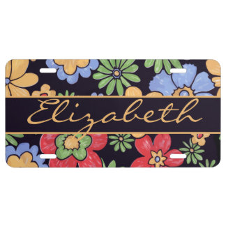 Custom Vivid Colourful Flowers to Personalize License Plate