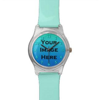 Custom Watch With Aqua Numbers Drop Shadow