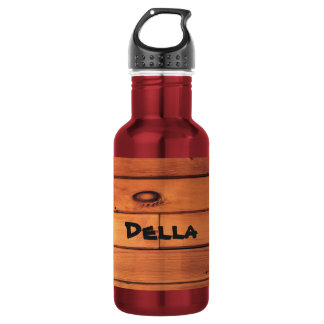 Custom Water Bottle (18 oz) Red with Brown