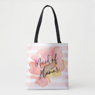 Custom Watercolor Blush Peach Floral Bridesmaid Tote Bag