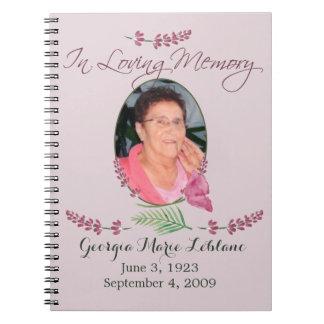 Custom Watercolor Lavender Memorial Guest book Spiral Note Book
