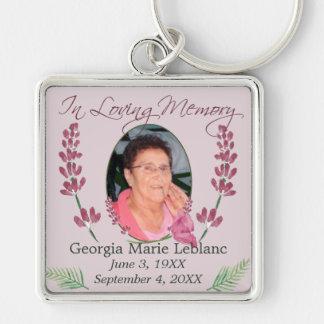 Custom Watercolor Lavender Memorial Keepsakes Silver-Colored Square Keychain